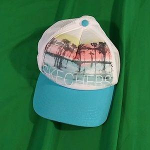 Skechers blue white graphic palm tree cap
